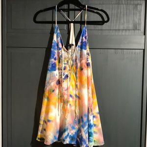 Lace Up Tie Dye Dress